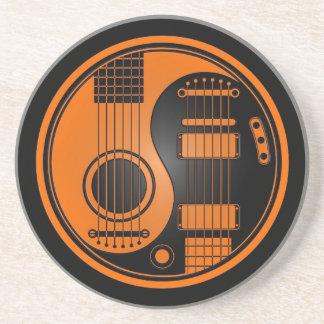 Orange and Black Acoustic Electric Guitars Yin Yan Sandstone Coaster