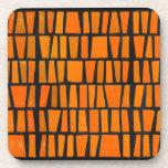 Orange and black african tribal pattern coasters