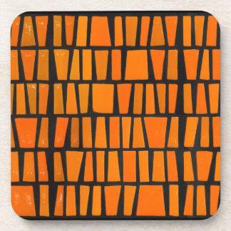 Orange and black african tribal pattern drink coasters