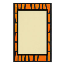 Orange and black african tribal pattern stationery