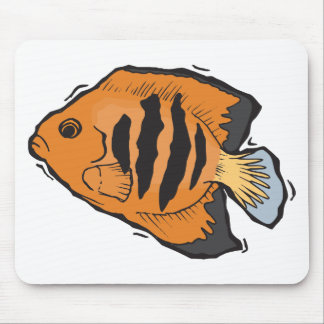 orange and black angelfish mouse pad