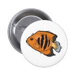 orange and black angelfish pinback button