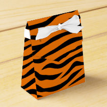 Orange and Black Animal Print Tiger Stripes Favor Box