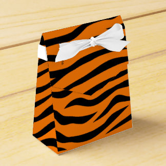 Orange and Black Animal Print Tiger Stripes Favor Box