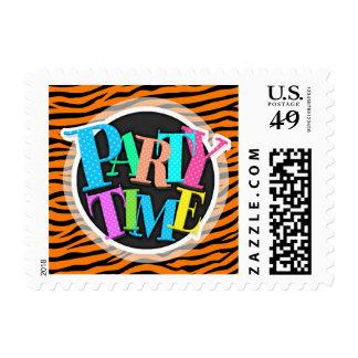 Orange and Black Animal Print Tiger Stripes Postage