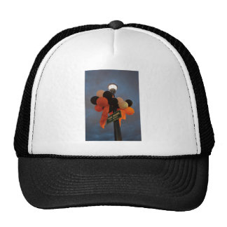 Orange and Black Balloons Adorn a Park Sign Trucker Hat