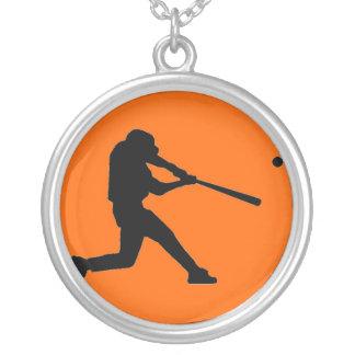 Orange and Black Baseball Necklace