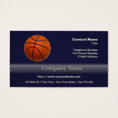 Orange and Black Basketball Business Card at Zazzle