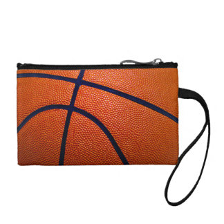 Orange and Black Basketball Coin Purse