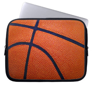 Orange and Black Basketball Computer Sleeve