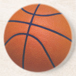 Orange and Black Basketball Drink Coaster
