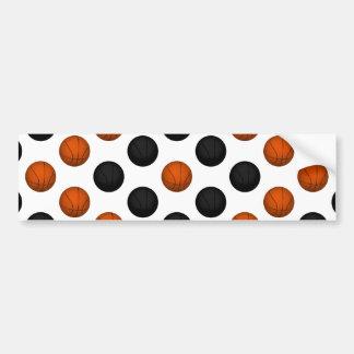 Orange and Black Basketball Pattern Car Bumper Sticker