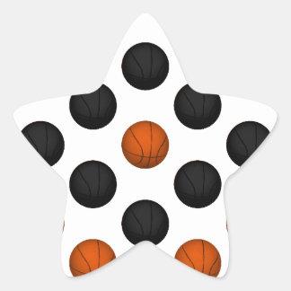 Orange and Black Basketball Pattern Star Sticker