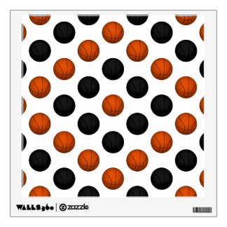Orange and Black Basketball Pattern Wall Decal
