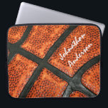 "Orange and Black Basketball Pattern With Autograph Computer Sleeve<br><div class=""desc"">Add your name to this cool personalized computer laptop sleeve with a basketball pattern to make it look like an autographed signature. Flat printed image,  not textured. Original Art copyright of &#169;PTKDesigns</div>"