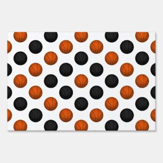 Orange and Black Basketball Pattern Signs