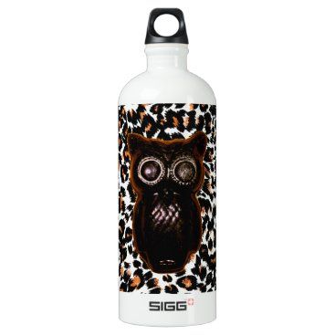 Halloween Themed Orange and Black Bat and Leopard Spots Aluminum Water Bottle