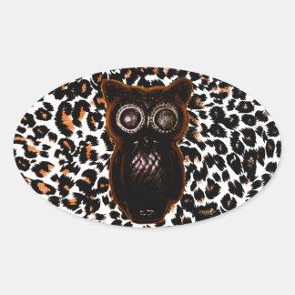 Orange and Black Bat and Leopard Spots Oval Sticker