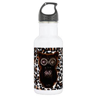 Orange and Black Bat and Leopard Spots Water Bottle