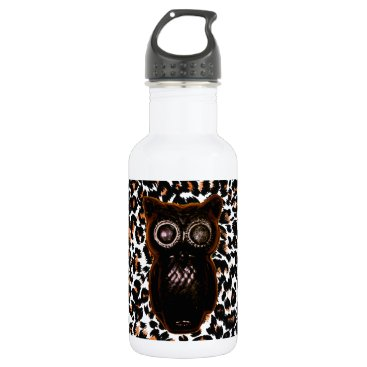 Halloween Themed Orange and Black Bat and Leopard Spots Water Bottle