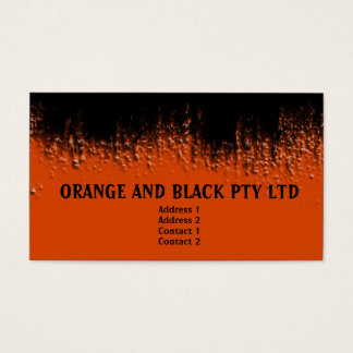 Orange and Black Blistered Business Card