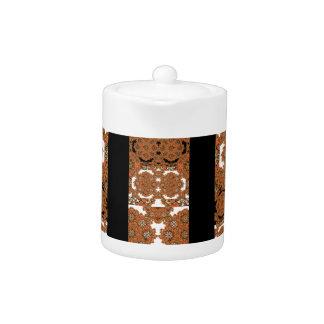 Orange and Black Boho Stripes Teapot