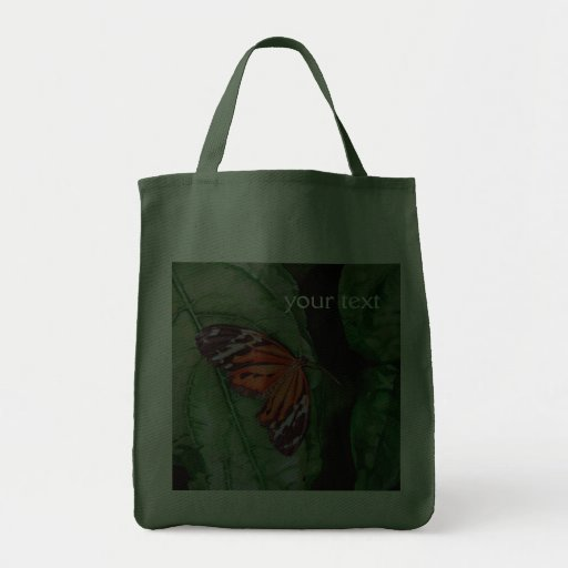 Orange and Black Brazilian Butterfly Grocery Tote Bag