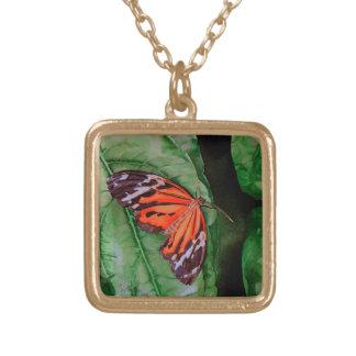 Orange and Black Brazilian Butterfly Necklace