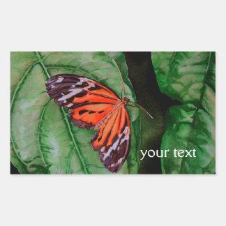 Orange and Black Brazilian Butterfly Rectangular Sticker