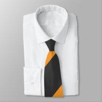 Orange and Black Broad Regimental Stripe Neck Tie