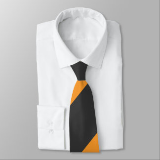 Orange and Black Broad Regimental Stripe Neck Tie