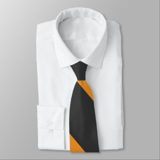 Orange and Black Broad University Stripe Neck Tie