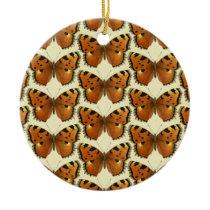 Orange and Black Butterflies Pattern Ceramic Ornament
