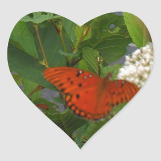 Orange and Black Butterfly at the Lake Heart Sticker