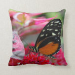 Orange and Black Butterfly on Flowers Photo Pillow Throw Pillow