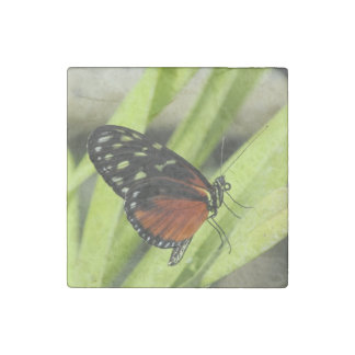 Orange and Black Butterfly on Leaf Stone Magnet