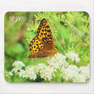 Orange and Black Butterfly on White Flower Mouse Pad