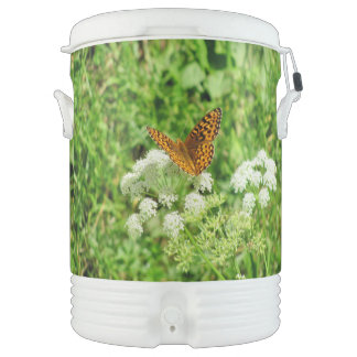 Orange and Black Butterfly on White Flowers Igloo Beverage Dispenser
