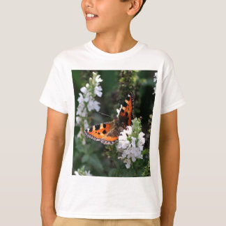 Orange and Black Butterfly on White Flowers T-Shirt