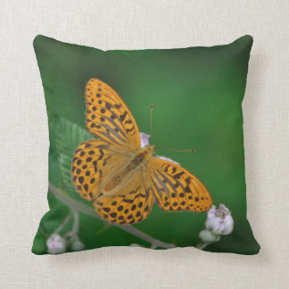 Orange and black butterfly photo throw pillow