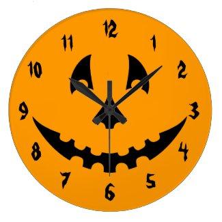 Orange and Black Carved Pumpkin Face Large Clock