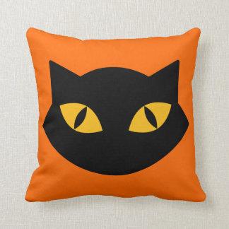 Orange And Black Cat Halloween Pillow
