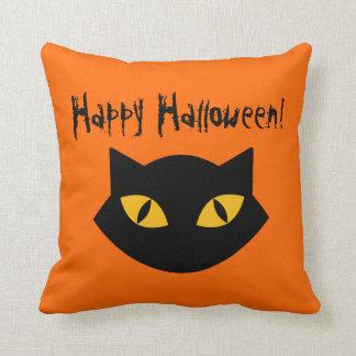 Orange And Black Cat Happy Halloween Pillow