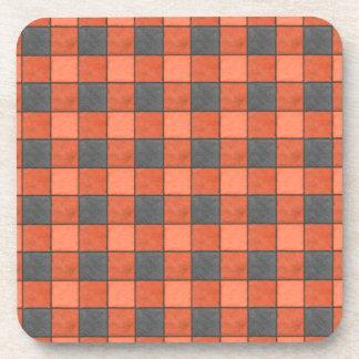 Orange and Black Check Plastic Coasters