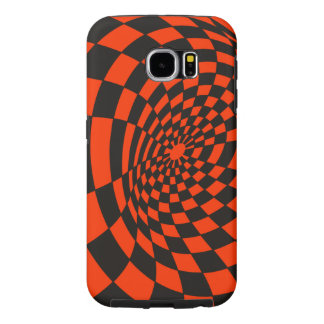 Orange and Black Checkerboard Warp Samsung Galaxy S6 Cases