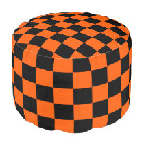 Orange and Black Checkered Pouf