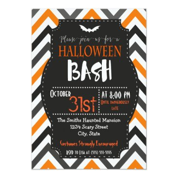 Halloween Themed Orange and Black Chevron Halloween Invitation