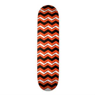 Orange and Black Chevron Skateboard Deck