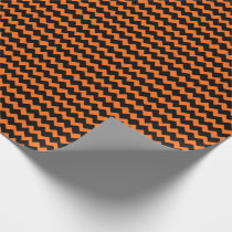 Orange and Black Chevron Stripes Wrapping Paper