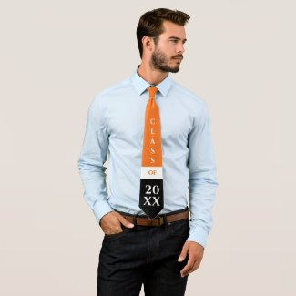 Orange and Black Color Block Graduation Class of Neck Tie